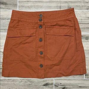Sanctuary Dark Orange Button Front Mini Skirt